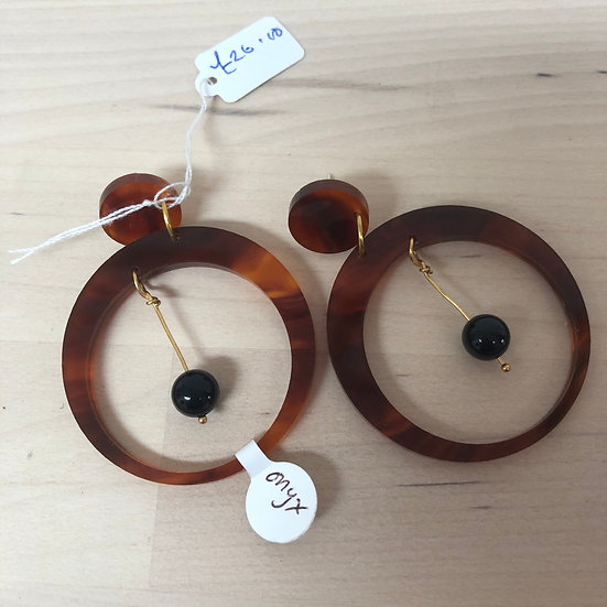 Carly Dove onyx drop earrings