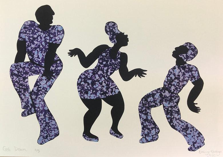 'Get down' print by Biringi Kawooya