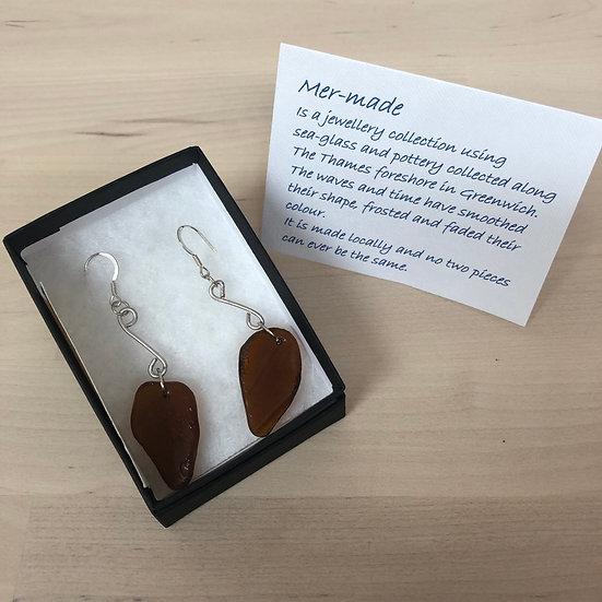 Brown seaglass mudlarked earrings