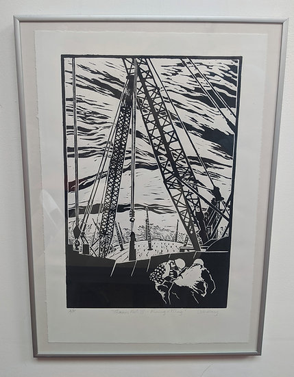 Thames Path O2 with men view - Framed - Artists' Proof