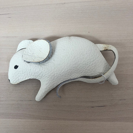 White mouse offcut leather brooch