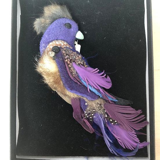 Large purple leather bird brooch