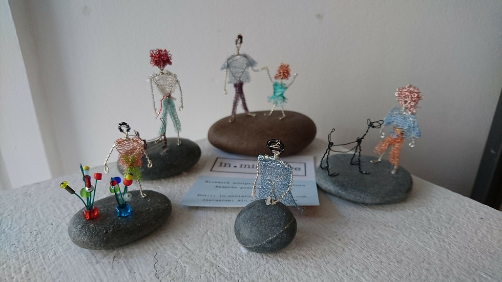 Miniature wire figures - Gwenan Bain