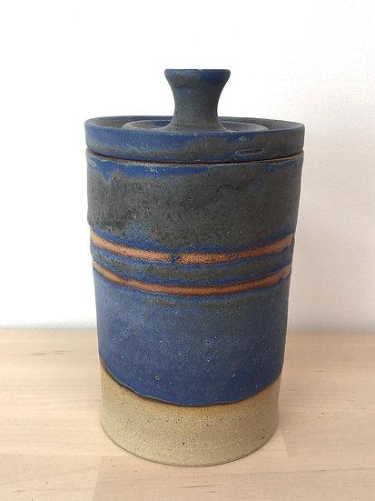 Stoneware cobalt-glaze storage jar