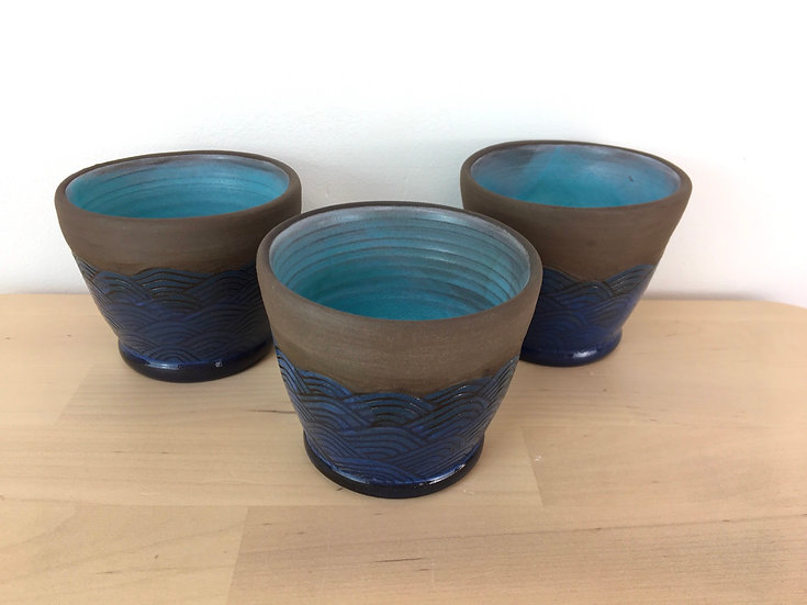 Earthenware 'flood' vessels by Jonquil Cook