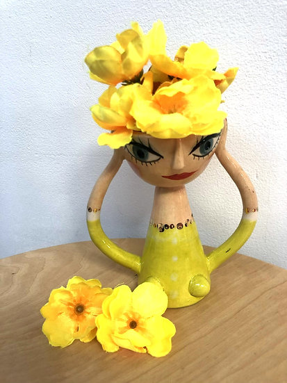 Madeline Herbert -Egg cup with orange hair, lime green dress and gold detailing.