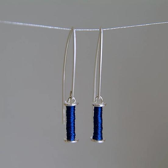 Slim blue sterling silver earrings
