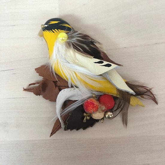 Yellow bird offcut leather brooch