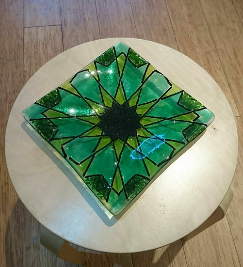 Large Fused Glass Bowl Green - Hajrah Ayub, Light Upon Light