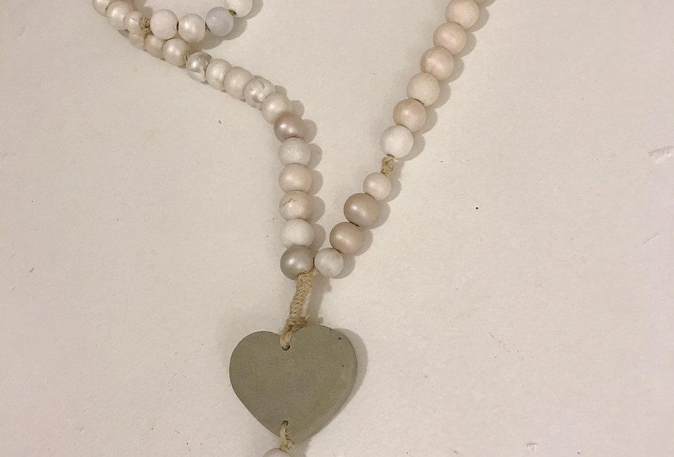 Blessing Beads Cement heart & tassel charm