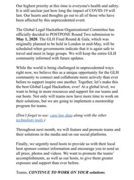 Global Legal Hackaton postponed Round Two submission
