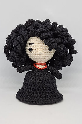 Handmade Amigurumi Witch - Elegant Little Black Dress - Halloween Home Decor