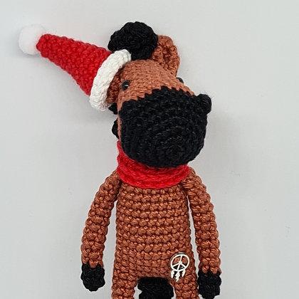 Handmade Crochet Christmas Small Horse - Chestnut Horse in Santa's Red Hat