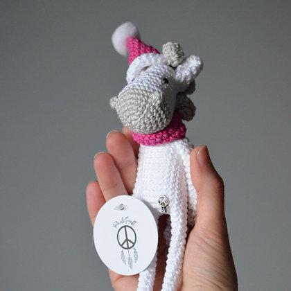 Handmade Crochet Christmas Horse - White Light Brown in Pink Santa's Hat Horse