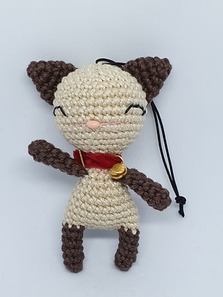 Siamese Lucky Cat with Red Collar and Golden Bell