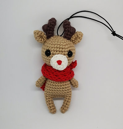 Handmade Crochet Christmas Reindeer - Reindeer with Red Nose - Christmas Home De