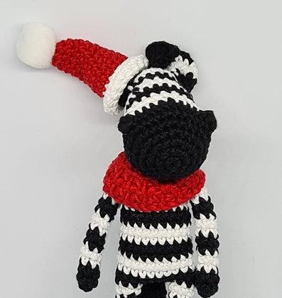 Handmade Crochet Christmas Zebra - Black White Santa's Horse