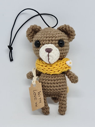 Little Teddy Bear in Yellow Knitted Snood With Love