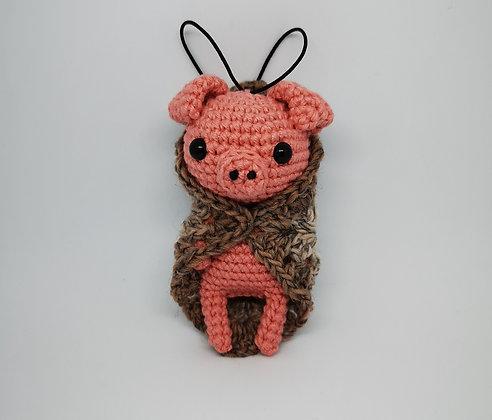 Vegan Pig in Blanket - Granny Square Blanket - Christmas Home Decor