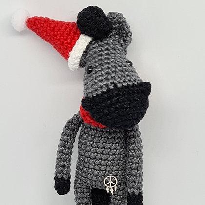 Handmade Crochet Christmas Small Horse - Grey Horse in Santa's Hat