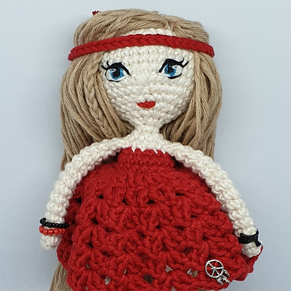 Hippie Doll with Embroidered Eyes in Red Dress