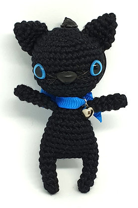 Black Cat with Blue Eyesand Collar Keyring