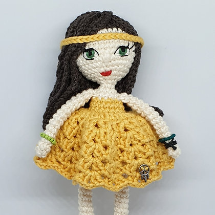 Hippie Doll with Embroidered Eyes in Yellow Dress