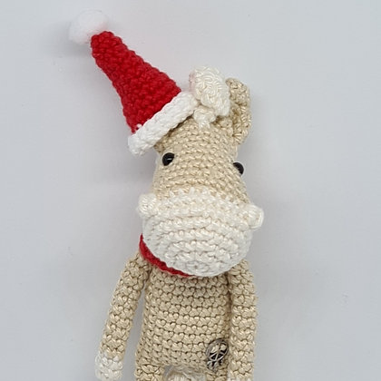 Handmade Crochet Christmas Small Horse - Pomelo Horse in Santa's Hat