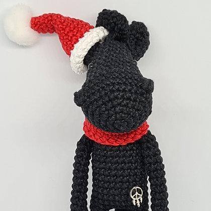 Handmade Crochet Christmas Horse - Black Santa's Horse