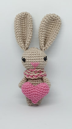 Beige Bunny with Pink Heart