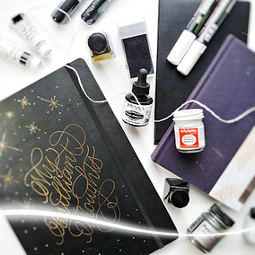8. Black and White Calligraphy Supplies.
