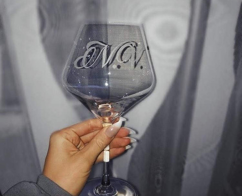 Wine Glass Engraved Initials