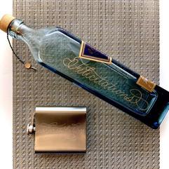 Hand Engraved Glass Bottle & Metal Flask