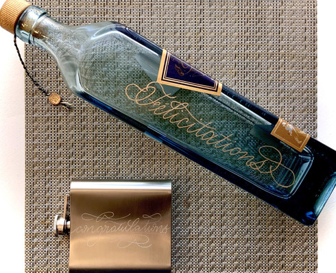 Hand Engraved Alcohol Bottle and Flask