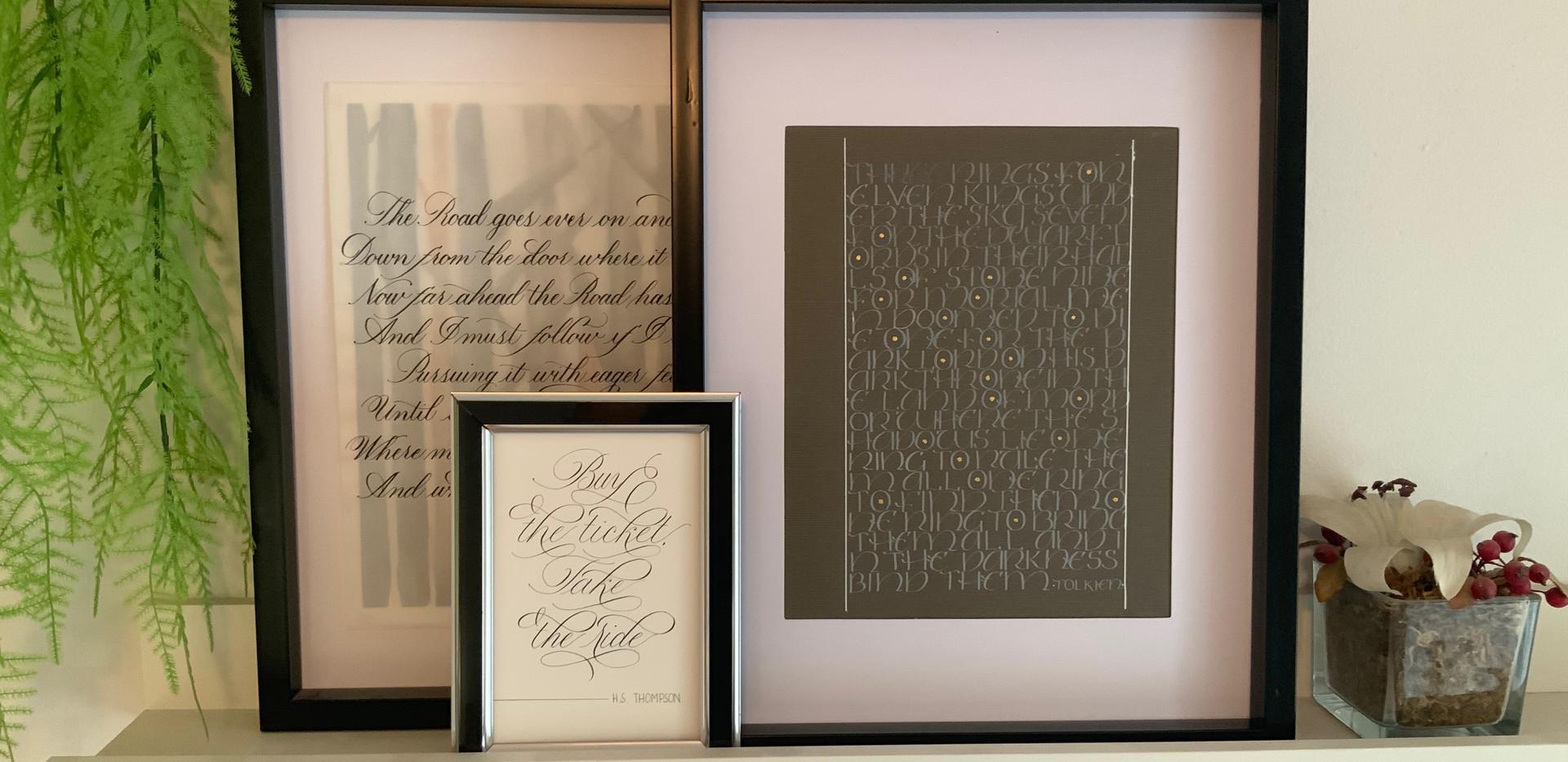 Framed Calligraphy Art