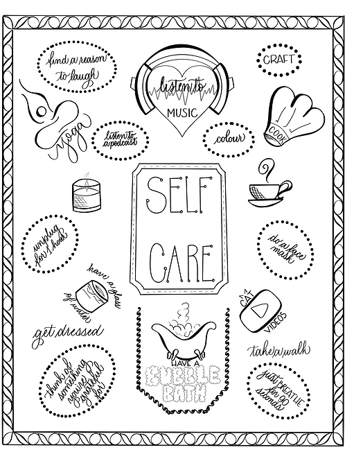 Self Care Colouring Page