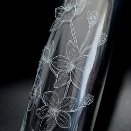 Floral Engraved Vase - details
