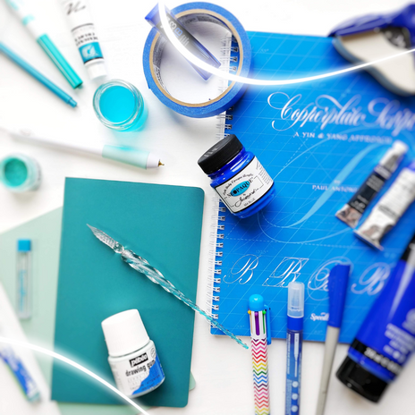 Teal and Blue Art and Calligraphy Supplies