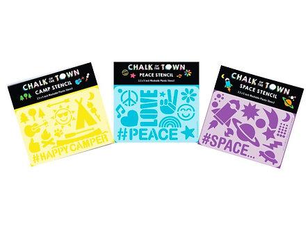 Stencil 3 Pack: Peace, Space, & Camp