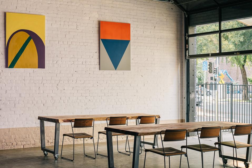 Artwork hung in the Sacramento location