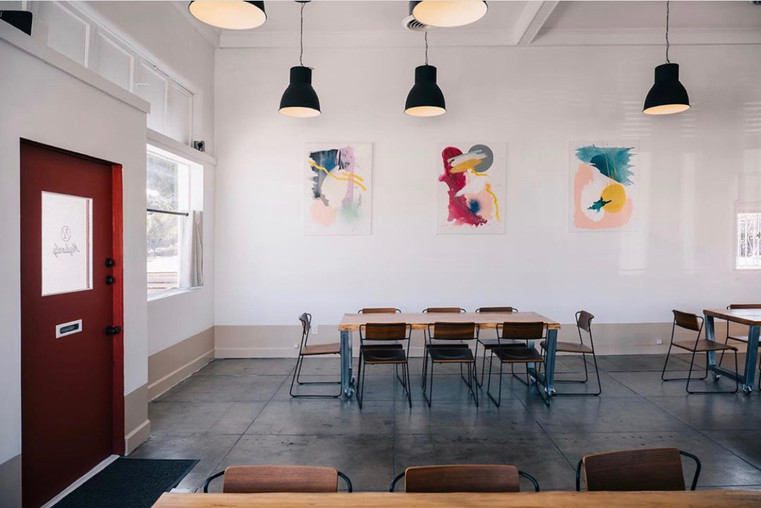 Artwork hung in the Los Angeles location