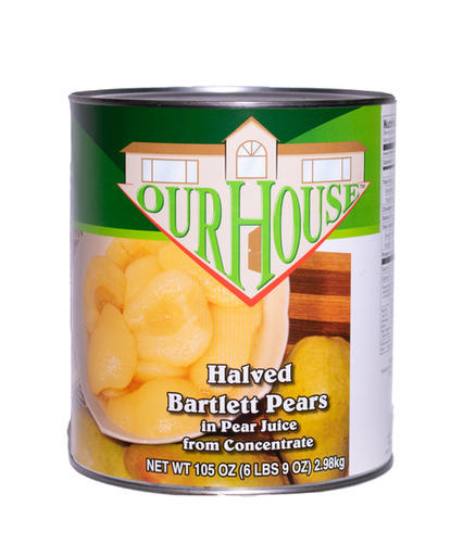 Halved Bartlett Pears in Pear Juice #10 can