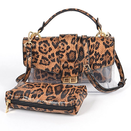 Leopard Faux Leather Clear