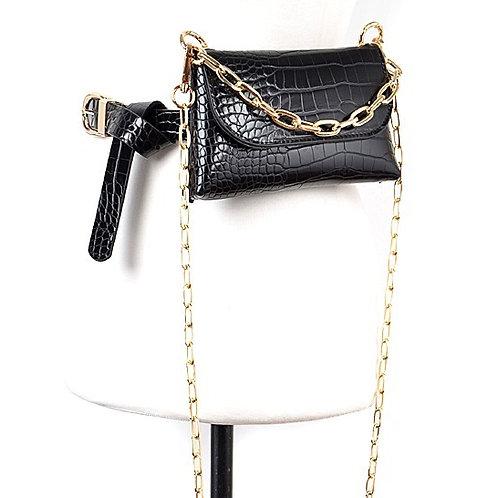 Faux Leather Belt Bag W/Crossbody Chain