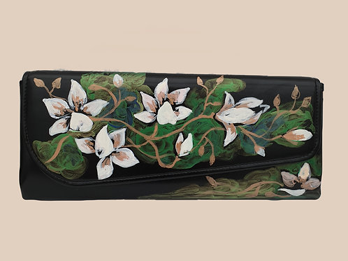 Floral hand painted clutch bag by Mihaela Panaitescu