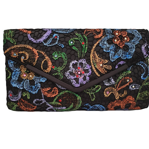 Lace and Swarovski crystals clutch bag by Mihaela Panaitescu
