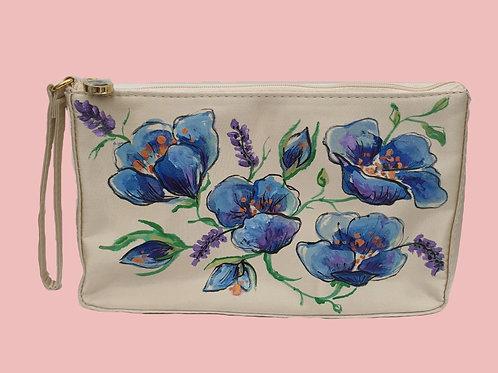 Floral hand painted handbag by Mihaela Panaitescu