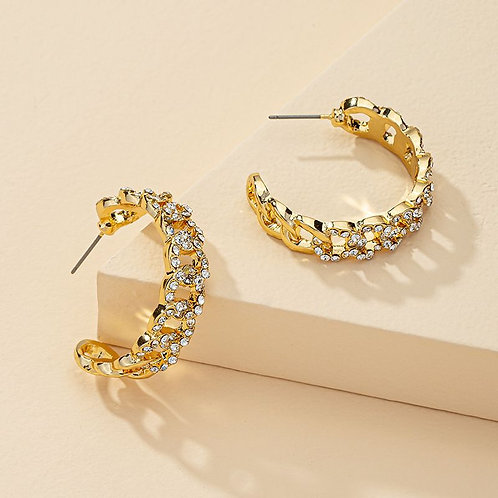 Nadi Gold Swarovski Crystal Chain Link Hoop Earrings