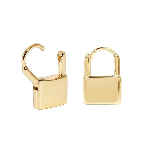 Gold Lock Hoop Earrings