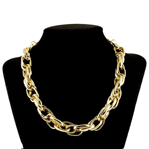 Modern Rope Link Choker in Gold